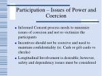 participation issues of power and coercion