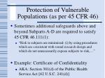 protection of vulnerable populations as per 45 cfr 4651