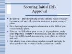 securing initial irb approval
