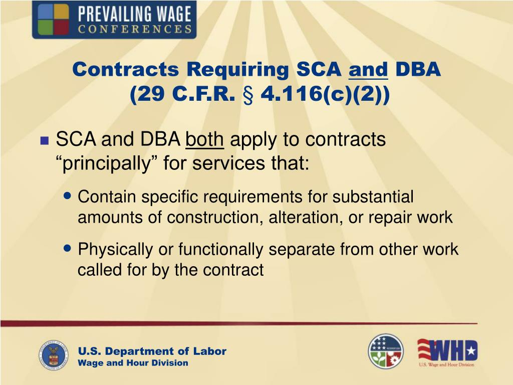 Contracts Requiring SCA