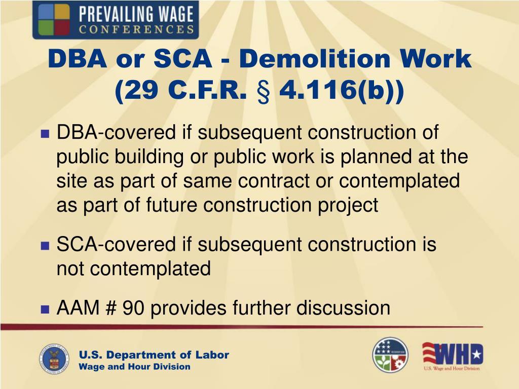 DBA or SCA - Demolition Work