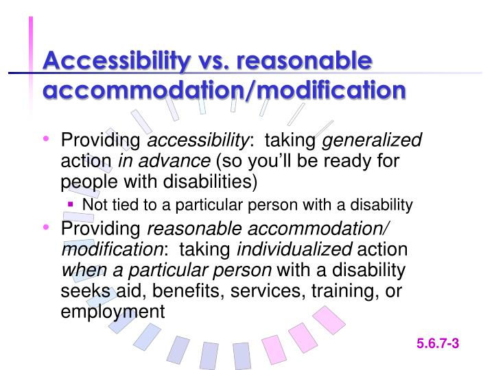 Accessibility vs reasonable accommodation modification