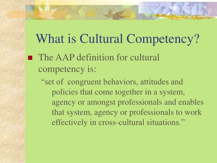 What is cultural competency