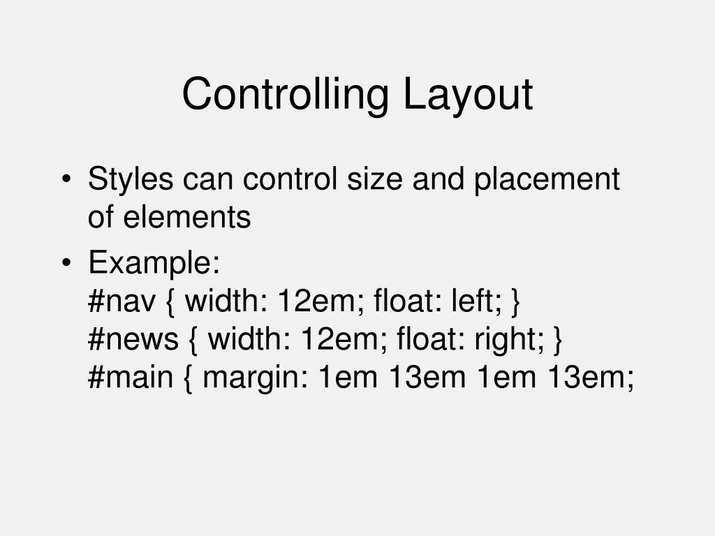 Controlling Layout