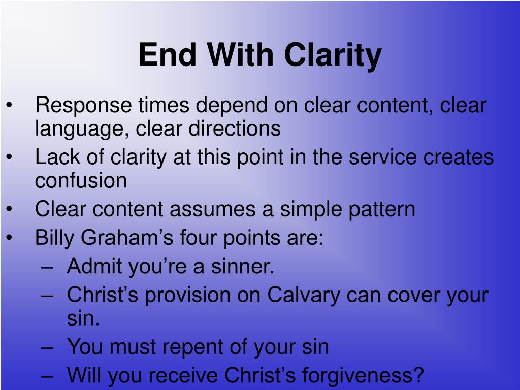 End With Clarity