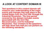 a look at content domain iii