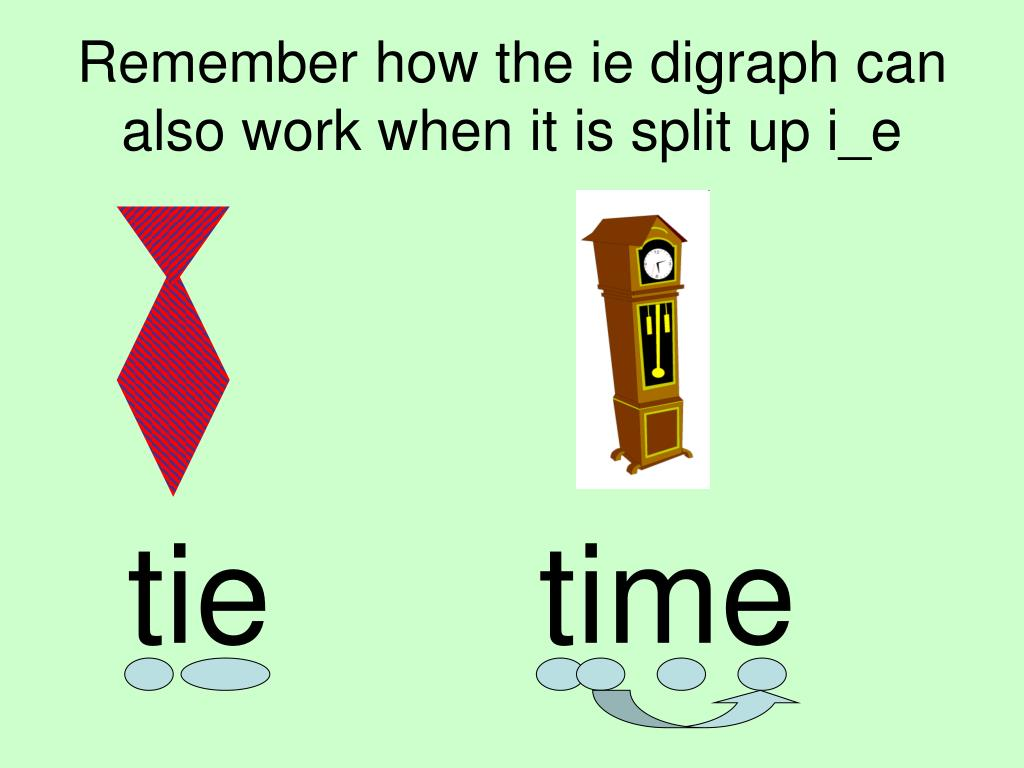 remember how the ie digraph can also work when it is split up i e l.