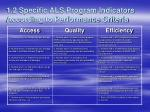 1 2 specific als program indicators according to performance criteria