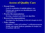 access of quality care