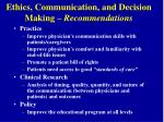 ethics communication and decision making recommendations