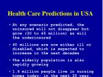 health care predictions in usa
