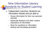 nine information literacy standards for student learning26