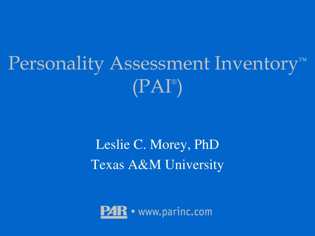 personality assessment inventory pai l.