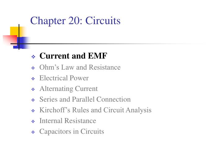 Chapter 20 circuits