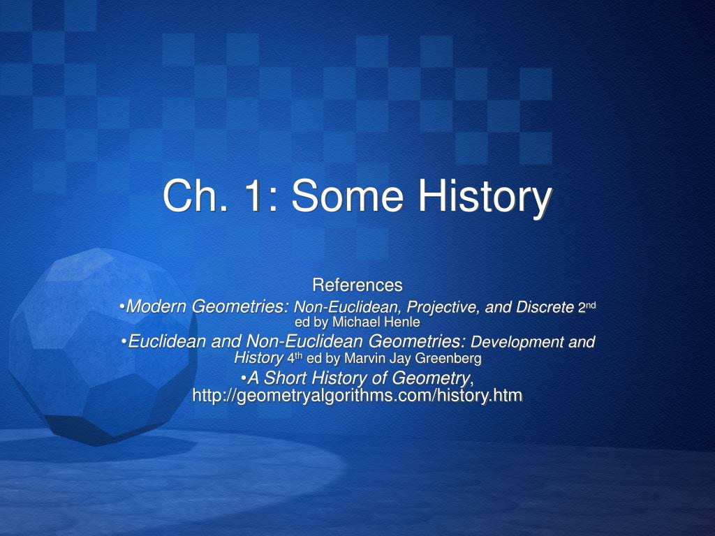 Ch. 1: Some History
