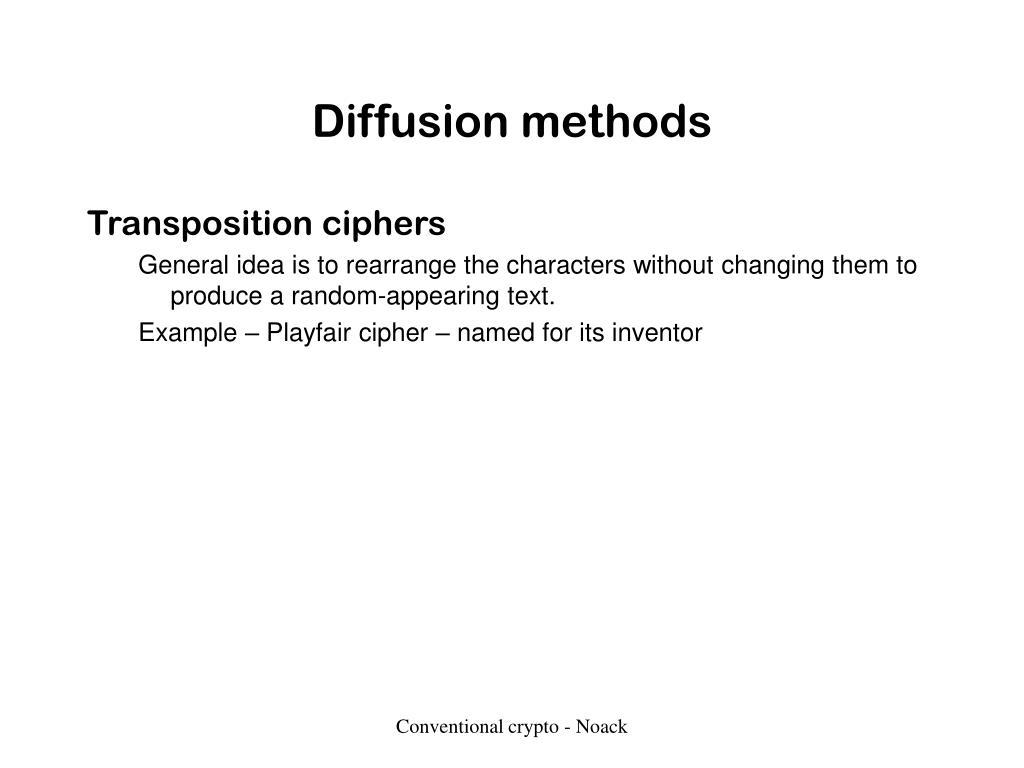Diffusion methods