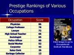prestige rankings of various occupations