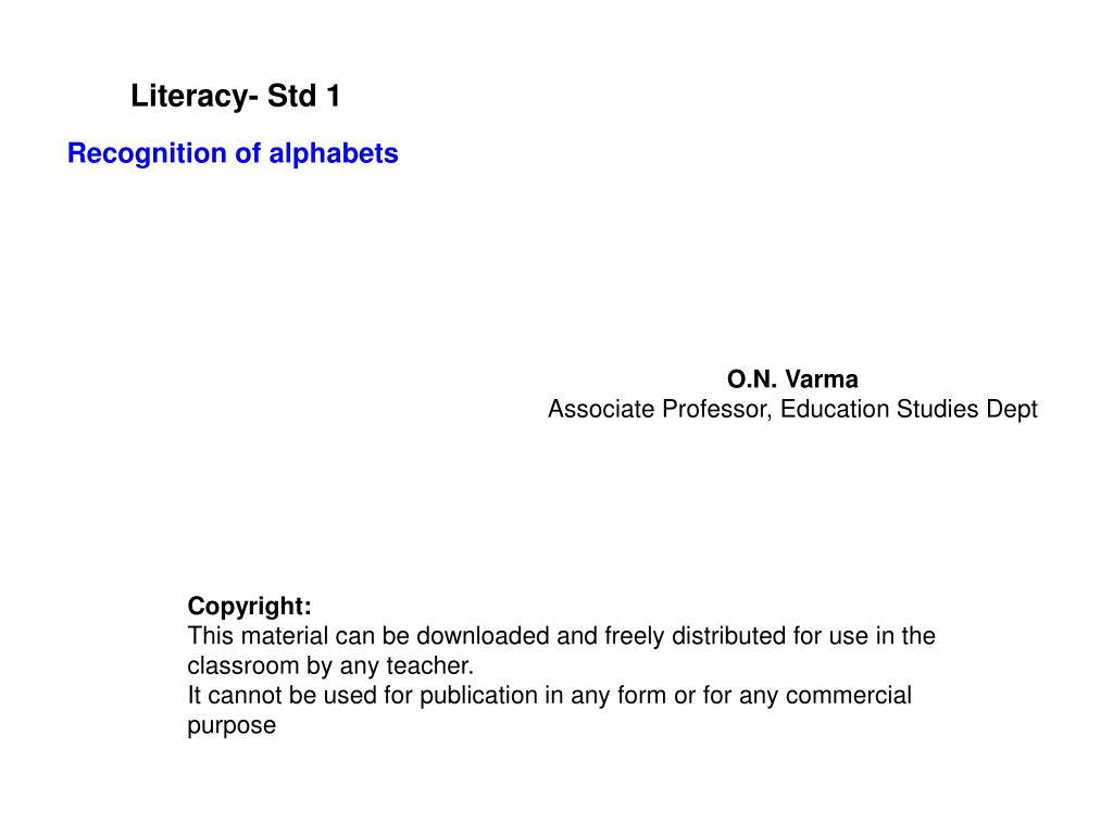 literacy std 1 l.
