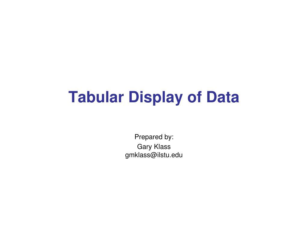 tabular display of data l.