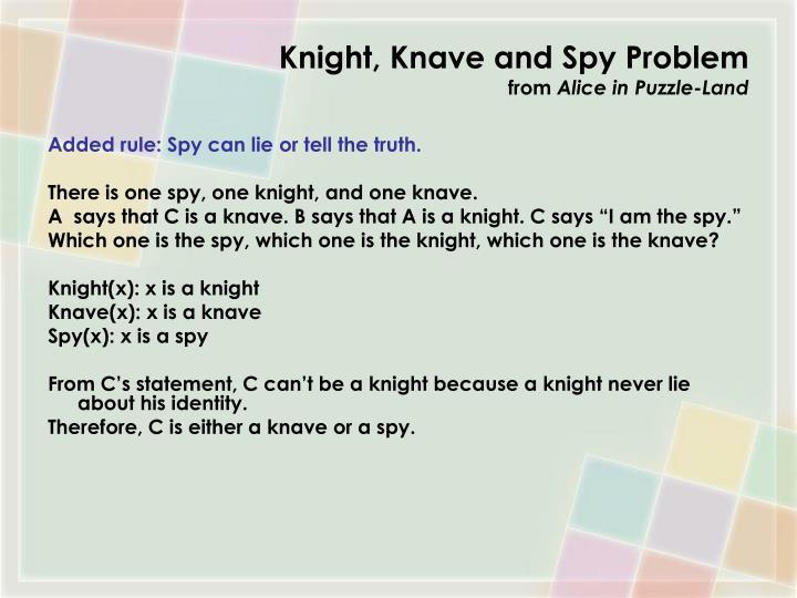 Knight, Knave and Spy Problem