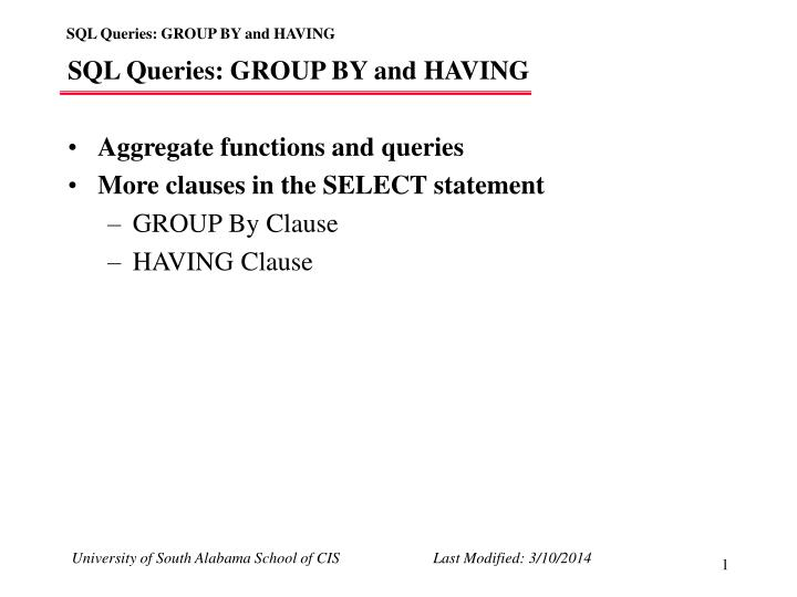 Sql queries group by and having