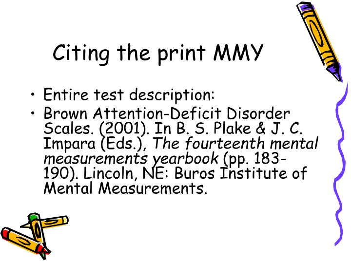Citing the print MMY