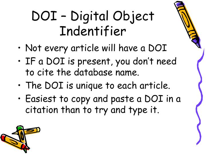 DOI – Digital Object Indentifier