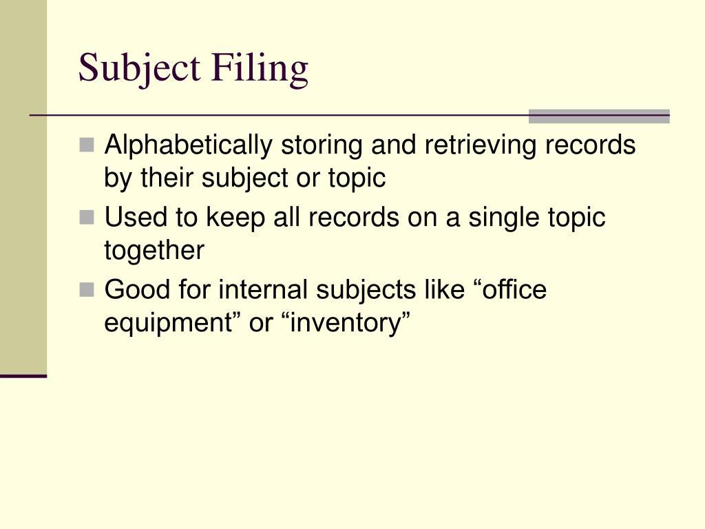 Subject Filing
