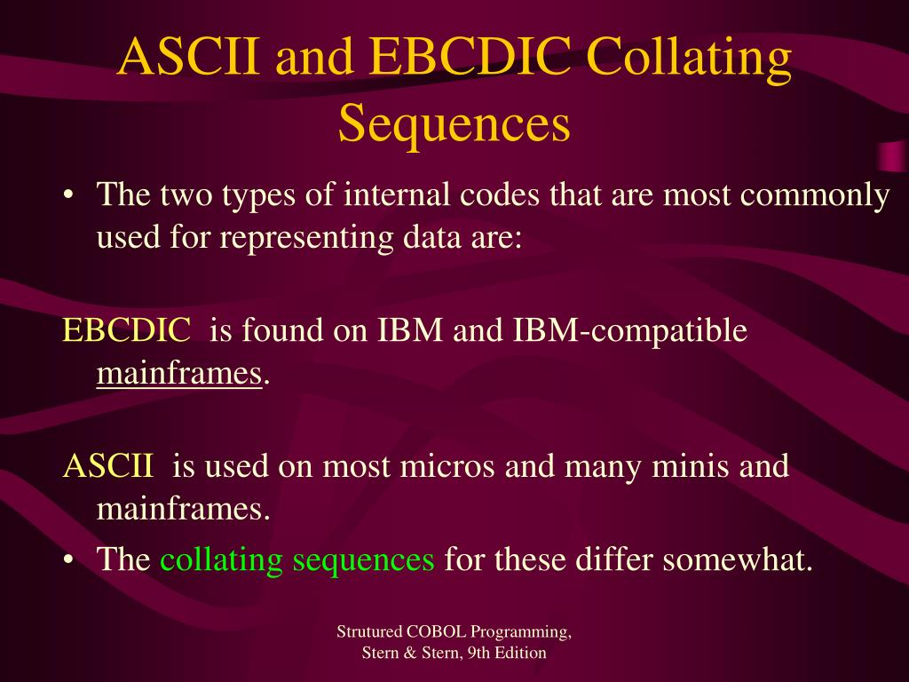 ASCII and EBCDIC Collating Sequences