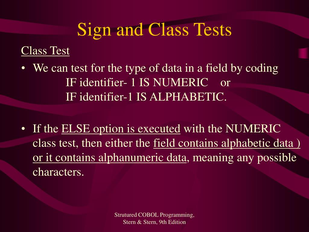 Sign and Class Tests