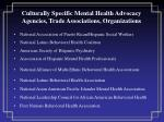 culturally specific mental health advocacy agencies trade associations organizations
