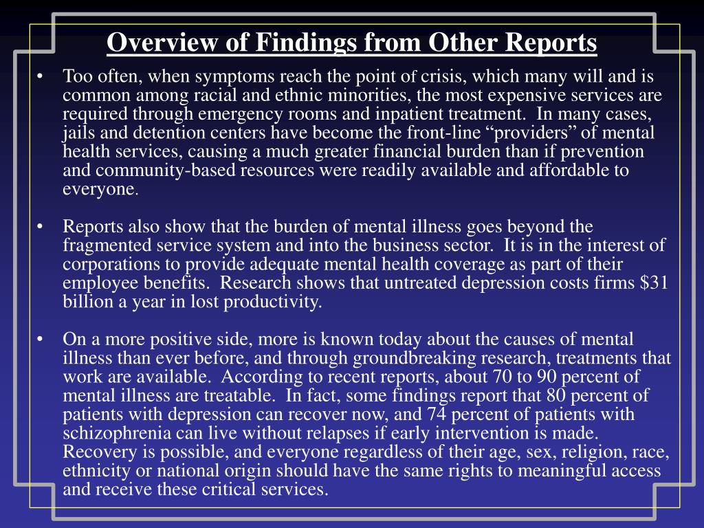 Overview of Findings from Other Reports