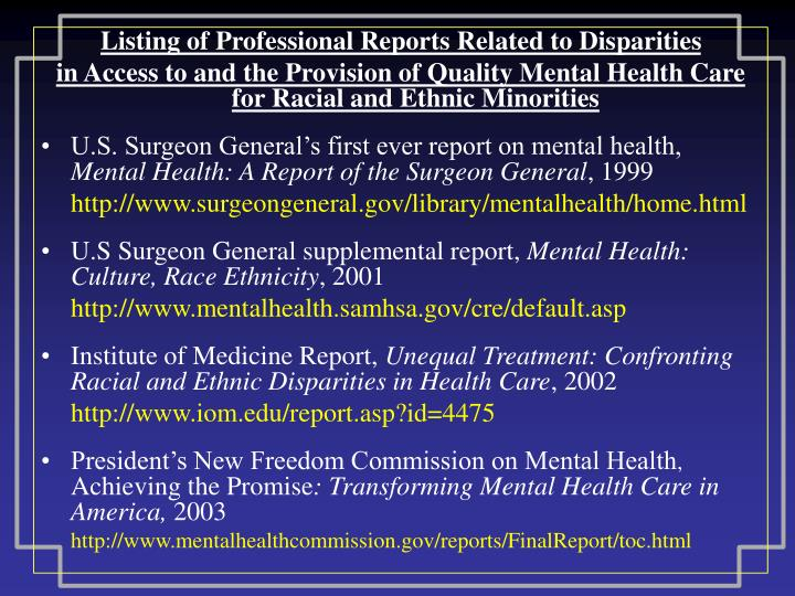 Listing of Professional Reports Related to Disparities
