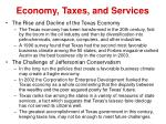 economy taxes and services