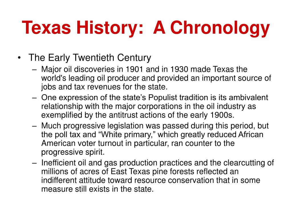 Texas History:  A Chronology