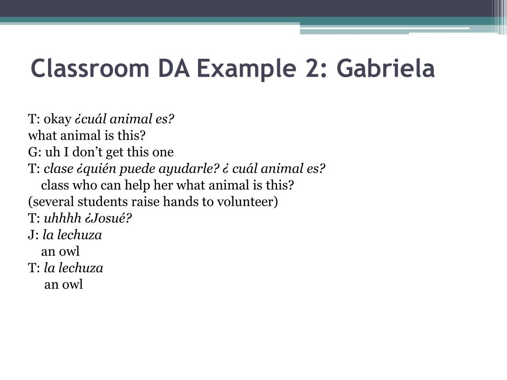 Classroom DA Example 2: Gabriela