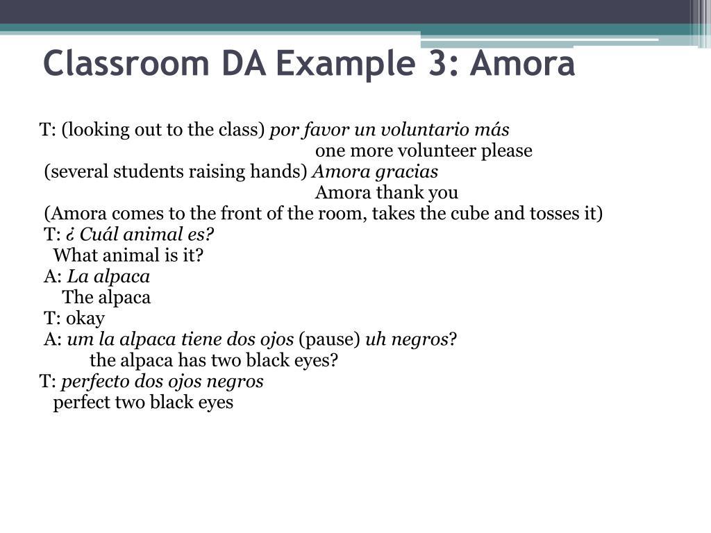 Classroom DA Example 3: Amora