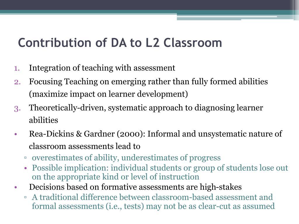 Contribution of DA to L2 Classroom