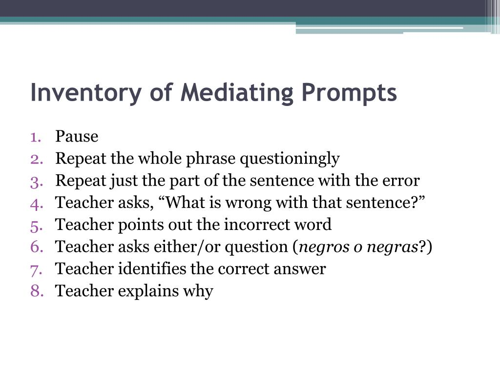 Inventory of Mediating Prompts