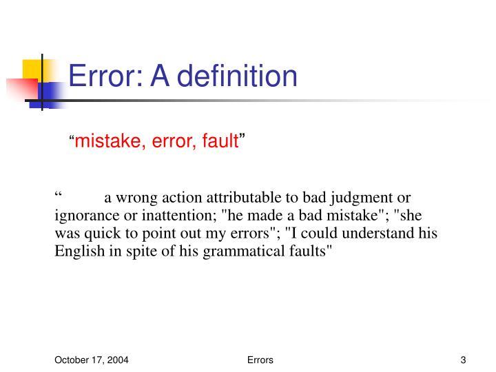 Error a definition