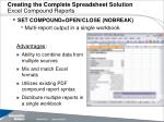 creating the complete spreadsheet solution excel compound reports