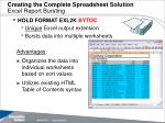 creating the complete spreadsheet solution excel report bursting