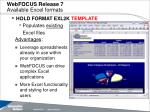 webfocus release 7 available excel formats