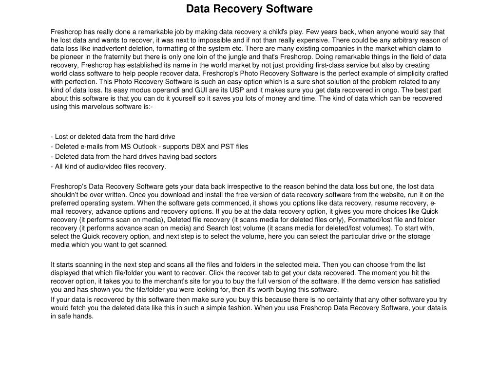 data recovery software l.