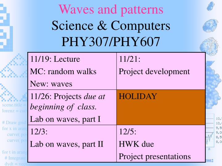 Waves and patterns science computers phy307 phy607