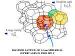 diamond lattice of 1 3 nm spherical supercages in zeolite y