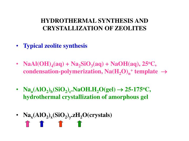 hydrothermal synthesis and crystallization of zeolites n.
