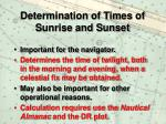 determination of times of sunrise and sunset
