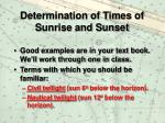 determination of times of sunrise and sunset23