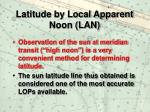 latitude by local apparent noon lan